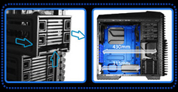 STACKABLE MODULAR DESIGN HDD CAGE ALLOWS MORE ROOM FOR INSTALLING A BIGGER PSU AND SUFFICIENT DEPTH OF CHASSIS FOR INSTALLING LONG CARDS.