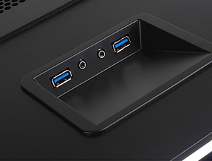 Top front I/O ports with USB 3.0