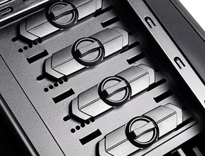 Four 5.25-inch drive bays with tool-less locks