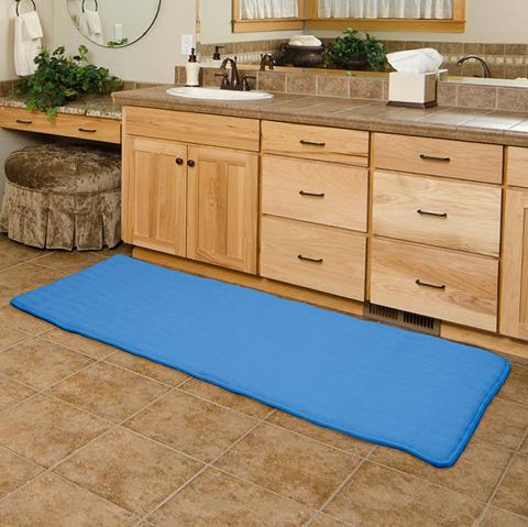 Lavish Home Memory Foam Extra Long Bath Rug Mat Blue 24x60