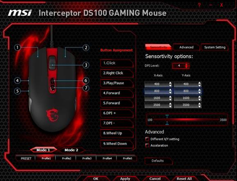 MSI Interceptor USB Wired Laser 3500