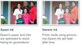 Comparison between Epson Ink and Generic Ink