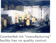 Counterfeit ink manufacturing site