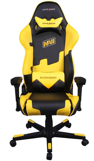 dxracer racing series oh/re21/ny/navi black yellow office chair