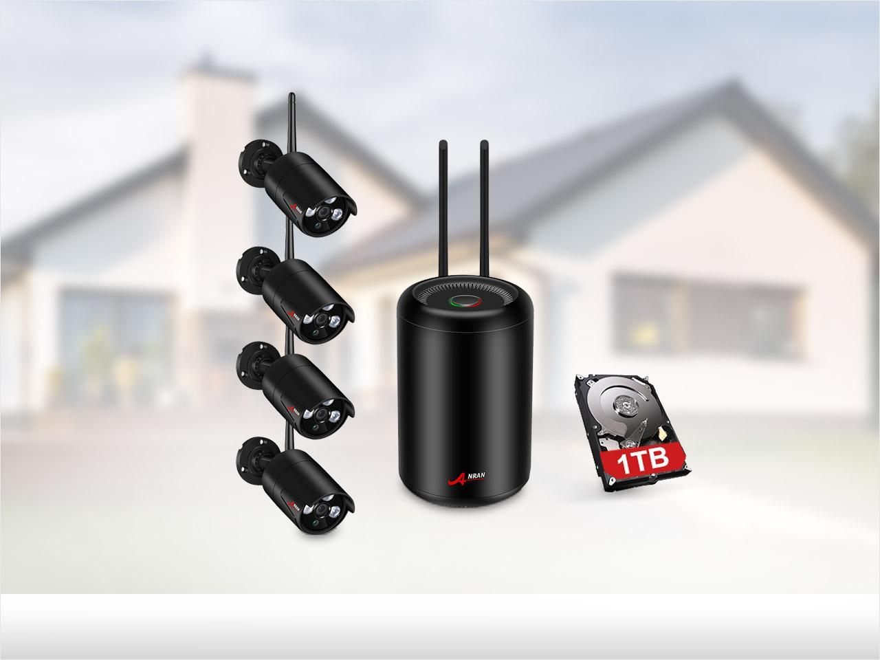 ANRAN 1080P 4 Channel Wi-Fi  4.2 Megapixel Surveillance System 1TB HDD - 100 Foot Night Vision Motion Detection Recorder