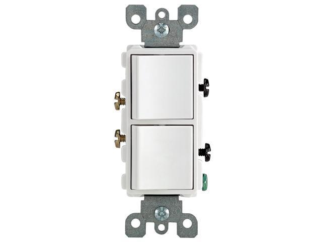 Leviton 15 Amp White Decora Dual Switch