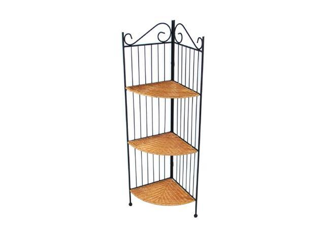4D Concepts 143023 3 Tier Corner Bookcase Wicker Metal