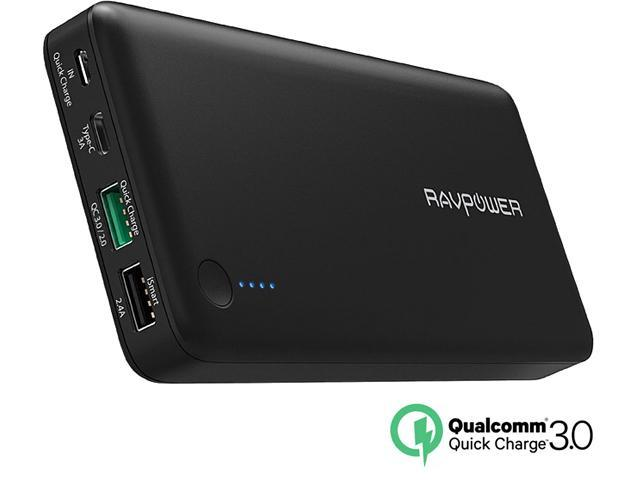 RAVPower 20100 mAh QC 3 0 Power Bank External Battery Pack Portable Charger  with Qualcomm Certified Quick Charge 3 0 - Black - Newegg com