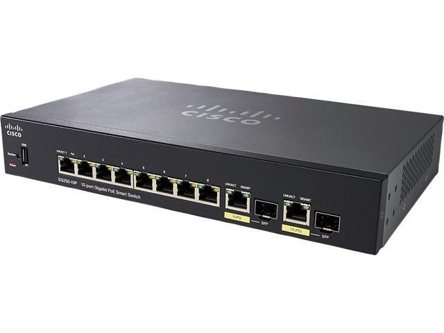 Cisco SG250-10P 10-Port Gigabit PoE Smart Switch - Newegg com