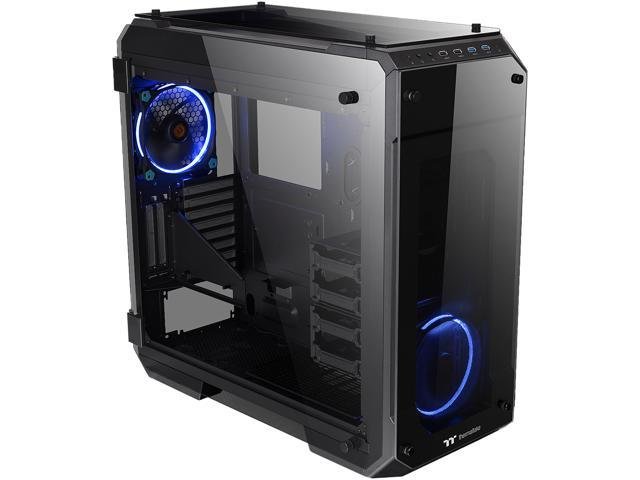114.99 - Thermaltake View 71 4-Sided Tempered Glass Vertical GPU Modular SPCC E-ATX Gaming Full Tower Computer Case with 2 Blue LED Ring Fan Pre-installed CA-1I7-00F1WN-00