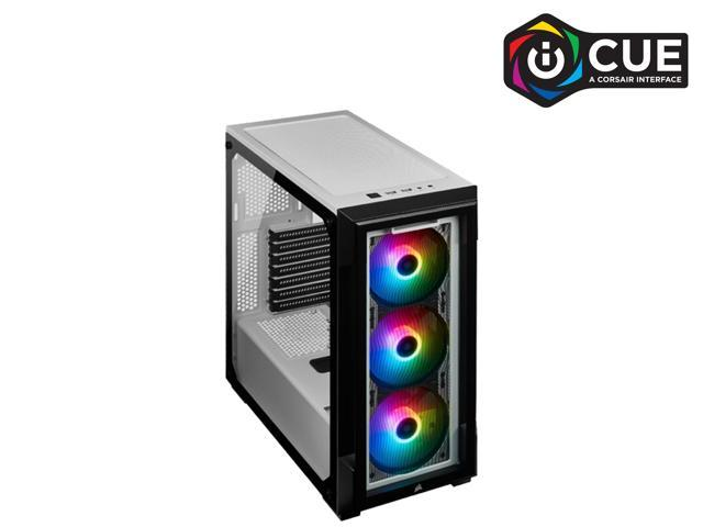 CORSAIR iCUE 220T RGB Tempered Glass Mid-Tower Smart Case, White (CC-9011191-WW)