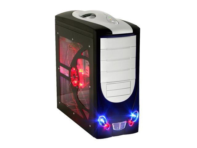 POWMAX CP0327PL-4 Window Black/ Silver SGCC ATX Mid Tower Computer Case 400W Power Supply
