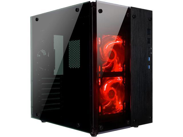 Rosewill Cube Mini ITX/Micro-ATX/ATX Mid Tower Gaming PC Computer Case,  Black Steel Tempered Glass, Red LED Fans - Cullinan PX Red - Newegg com