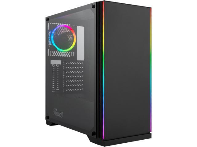 Rosewill ZIRCON I ATX Mid Tower Gaming PC Computer Case with RGB Fan & LED Light Strips, 240mm AIO Support, Bottom Mount ...