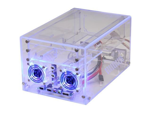 Sunbeam ACMI-P-HUVB UV Blue Clear Acrylic Mini-ITX Tower Computer Case 150W Power Supply