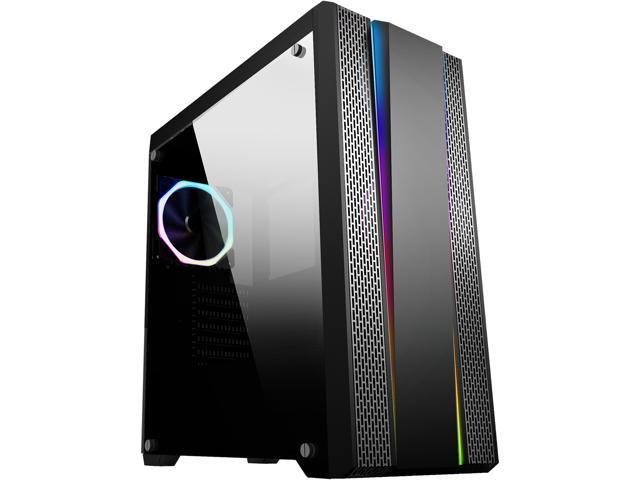 110074f7866c SAMA Proxima-RGB Black Dual USB3.0 Steel/ Tempered Glass ATX Mid Tower  Gaming Computer Case w/Tempered Glass Panel, Addressable RGB Strips and ...