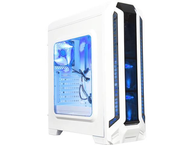 DIYPC Gamestorm-W White Dual USB 3 0 ATX Mid Tower Gaming Computer Case  with Build-in 3 x Fans (2 x 120mm Blue LED Fans x Front, 1 x 120mm Blue LED