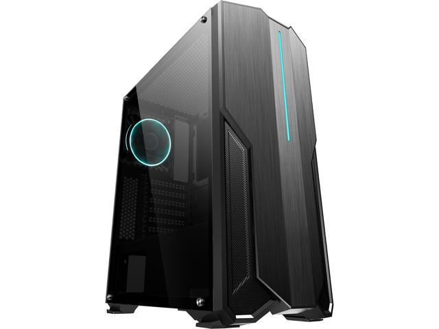 DIYPC VII-BK-ARGB Black USB3.0 Steel/ Tempered Glass ATX Mid Tower Gaming Computer Case w/ Full-Sized Tempered Glass Panel Addressable ARGB Strip and Pre-Installed 1 x Rear Addressable ARGB LED Fan