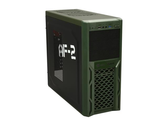COUGAR Solution AF-2 Black & Army Green Steel ATX Mid Tower Computer Case  with 12cm COUGAR TURBINE HYPER-SPIN Bearing Silent Fan and USB 3 0 -