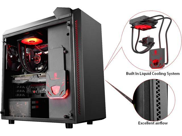 DEEPCOOL Gamer Storm BARONKASE LIQUID Black ATX Mid Tower with 120mm AIO Water Cooling System pre-installed SECC/Tempered Glass Computer Case with Controllable RGB Lighting System