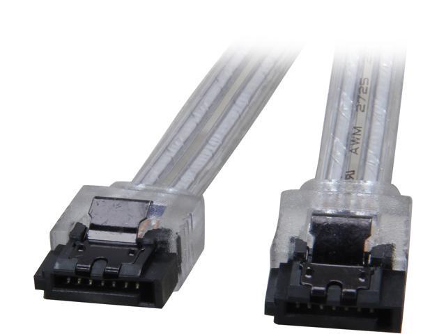 "Coboc 18/"" 90 Degree to 180 Degree SATA III 6Gb//s Data Cable w//Latch,Black 2 pk"