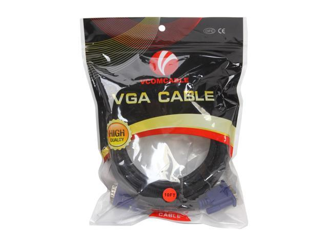 VCOM VC-VGA15F SVGA HD15 Male to Female Black Cable with Blue Connector,15feet