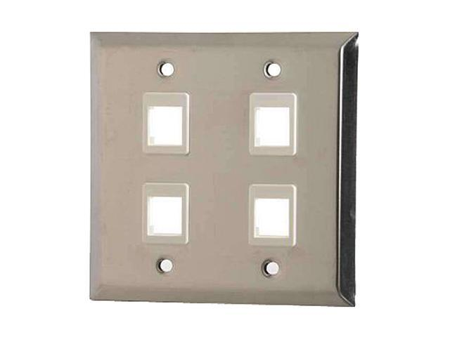 Stainless Steel TAA Compliant C2G 37099 Eight Port Keystone Double Gang Wall Plate