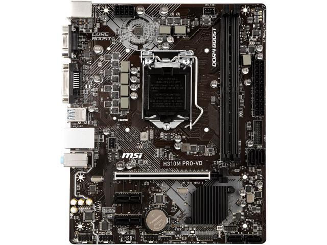 MSI H310M PRO-VD LGA 1151 (300 Series) Micro ATX Intel Motherboard -  Newegg com
