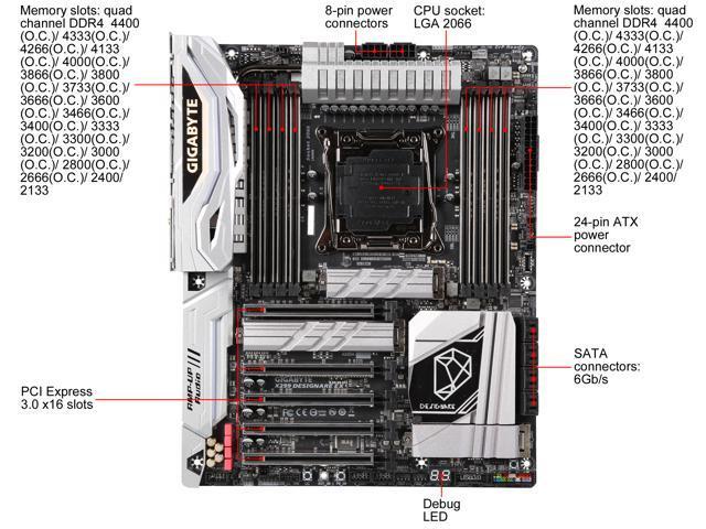 GIGABYTE X299 DESIGNARE EX (rev  1 0) LGA 2066 ATX Intel Motherboard -  Newegg com