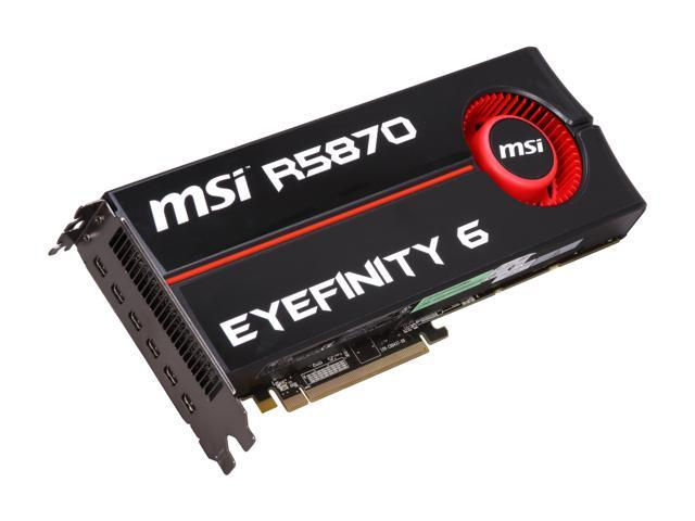 MSI Radeon HD 5870 DirectX 11 R5870 Eyefinity 6 2GB 256-Bit GDDR5 PCI Express 2.1 x16 HDCP Ready CrossFireX Support Video Card
