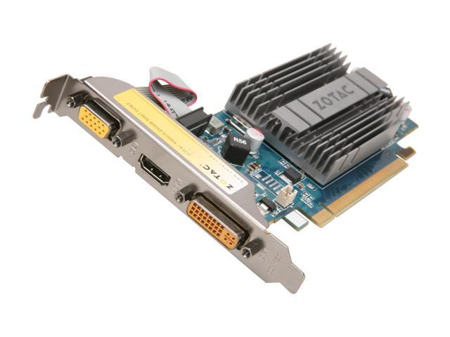 ZOTAC GeForce 8400 GS DirectX 10.1 ZT-84GED2M-HSL 256MB 32-Bit DDR3 PCI Express 2.0 x16 HDCP Ready Low Profile Ready Video Card