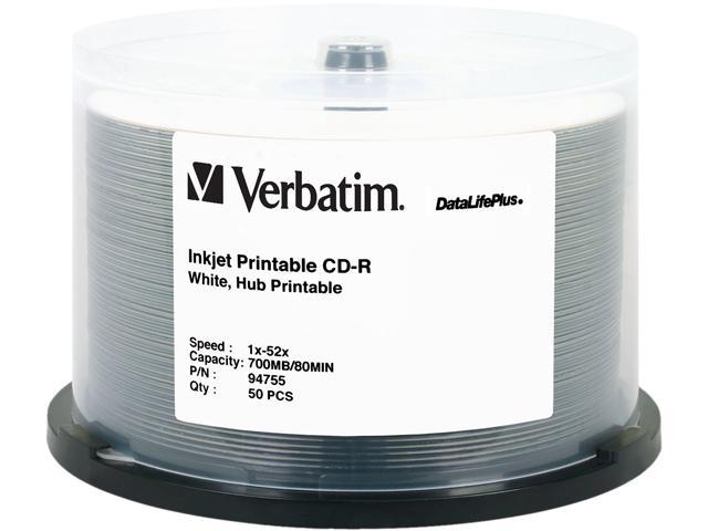 picture relating to Inkjet Printable Cd identified as Verbatim 700MB 52X CD-R White Inkjet, Hub Printable 50 Packs Disc Design and style 94755 -