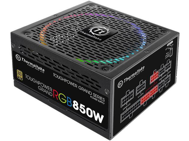 Thermaltake Toughpower Grand RGB 850W Gold RGB Sync Edition SLI/CrossFire Ready Continuous Power Smart Zero Fan ATX12V v2.4 / EPS v2.92 80 PLUS GOLD Certified 10 Year Warranty Full Modular Power Suppl