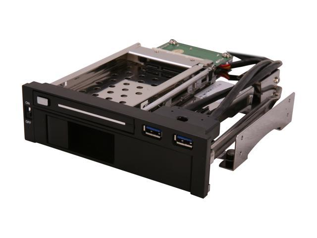 "5.25"" Dual Bay Mobile Rack for both 2.5"" and 3.25"" SATA HDD, Plus 2 USB 3.0 Ports"
