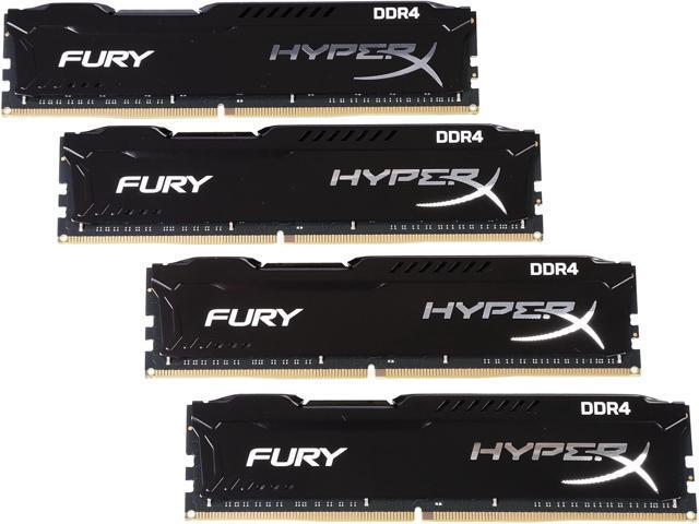 HyperX Fury 64GB (4 x 16GB) DDR4 2400MHz DRAM (Desktop Memory) CL15 1 2V  Black DIMM (288-pin) HX424C15FBK4/64 (Intel XMP, AMD Ryzen) - Newegg com