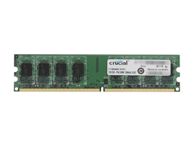 Crucial 1GB 240-Pin DDR2 SDRAM DDR2 667 (PC2 5300) Desktop Memory Model CT12864AA667