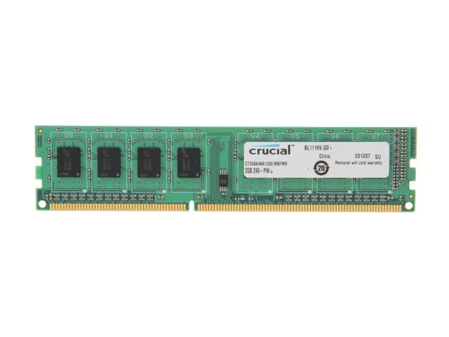 Crucial 2GB 240-Pin DDR3 SDRAM DDR3 1333 (PC3 10600) Desktop Memory Model CT25664BA1339
