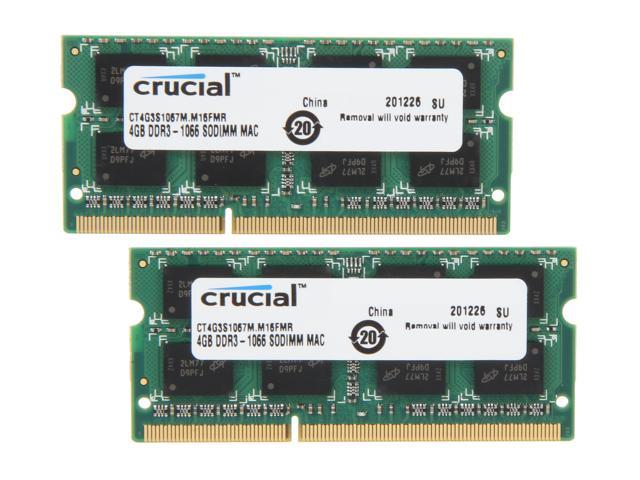 Crucial 8GB (2 x 4GB) DDR3 1066 (PC3 8500) Unbuffered Memory for Mac Model CT2K4G3S1067M