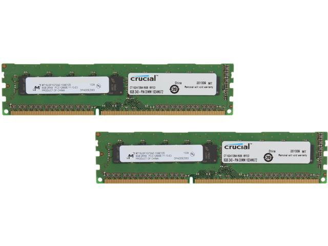 Crucial 16GB (2 x 8GB) 240-Pin DDR3 SDRAM ECC Unbuffered DDR3 1600 (PC3 12800) Server Memory Model CT2KIT102472BA160B