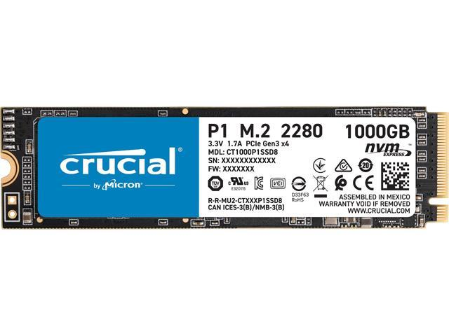 Crucial P1 1TB 3D NAND NVMe PCIe Internal SSD, up to 2000 MB/s - CT1000P1SSD8