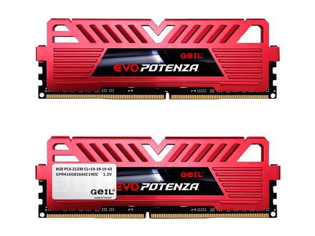 GeIL EVO POTENZA 16GB (2 x 8GB) PC4-21300 2666MHz DDR4 288-Pin DIMM Desktop Memory