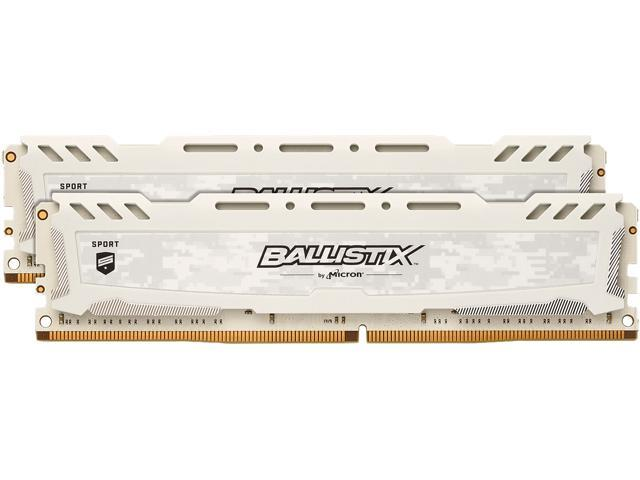 Ballistix Sport LT 8GB Kit (4GBx2) DDR4 2666 MT/s (PC4-21300) SR x8 DIMM 288-Pin - BLS2K4G4D26BFSC (White)