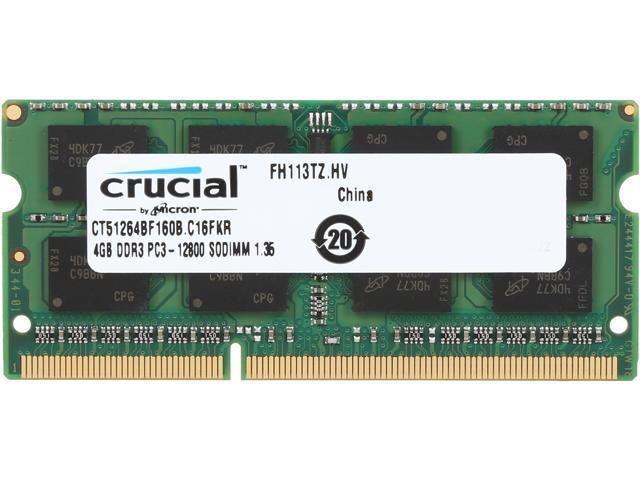Crucial 4gb 204 Pin Ddr3 So Dimm Ddr3l 1600 Pc3l 12800 Laptop