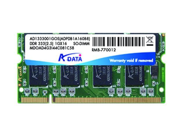 ADATA Premier Series 1GB 200-Pin DDR SO-DIMM DDR 333 (PC 2700) Laptop Memory Model AD1S333A1G25-R