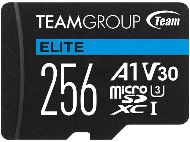 Team 256GB Elite microSDXC UHS-I U3, V30, A1, 4K UHD Memory Card with SD Adapter, Speed Up to 90MB/s ...
