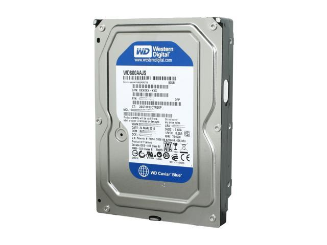 "Western Digital Blue WD800AAJS 80GB 7200 RPM 8MB Cache SATA 3.0Gb/s 3.5"" Internal Hard Drive Bare Drive"