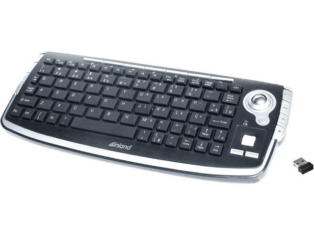 0e45ca42a53 inland 2.4G wireless keyboard with trackball 70142 Black 78 Normal Keys 15  Function Keys USB RF Wireless Mini Keyboard