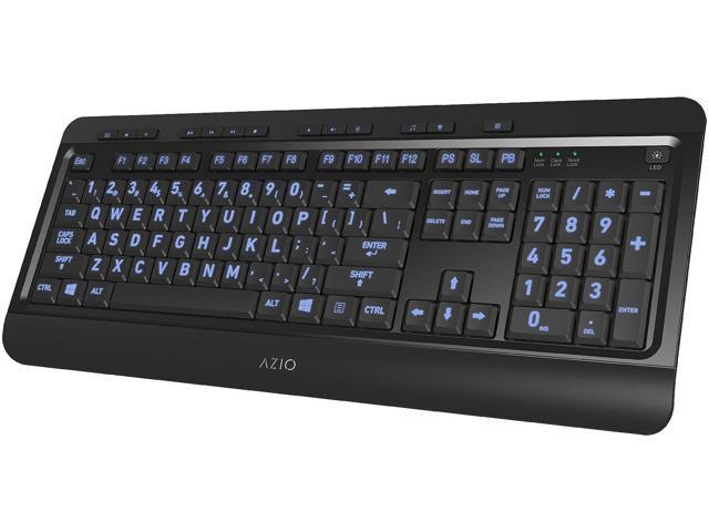 8448d5b9b11 AZIO KB505U Black USB Wired Standard Large Print 3 Color Backlit Keyboard