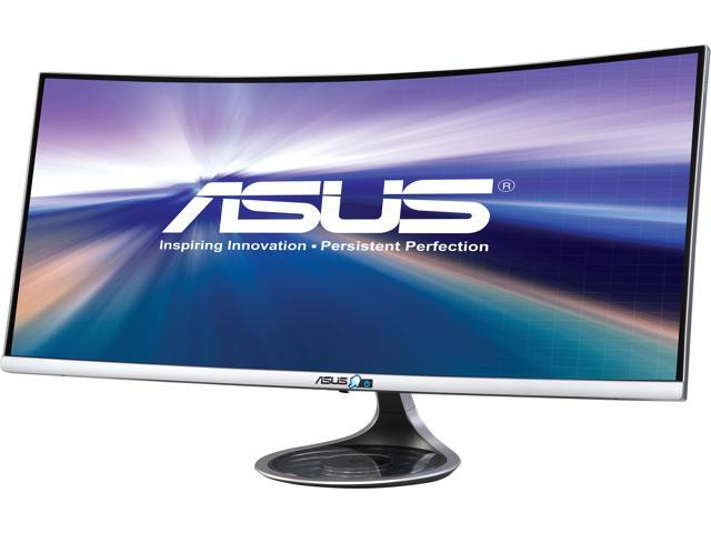 "ASUS Designo Curved MX34VQ 34"" UWQHD 3440x1440 2K Resolution 100Hz DP HDMI AMD Adaptive FreeSync Technology Qi Wireless Charger Asus Eye Care Frameless Monitor"
