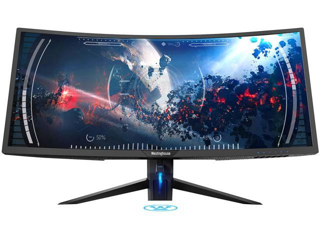 "Westinghouse WC34DX9019 34"" UWQHD 3440 x 1440 2K Resolution 100Hz 5ms 2xHDMI DisplayPort USB 3.0 Hub AMD FreeSync Technology Flicker-Free Ultra Widescreen Curved Backlit LED Gaming Monitor"